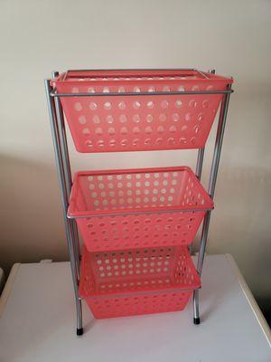 Pink plastic metal storage bin rack 3 tier art supplies girls room for Sale in Noblestown, PA