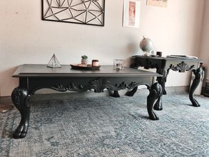 Beautiful black hand carved claw foot coffee and end table set for Sale in Austin, TX