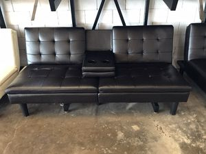 Brown Faux Leather Futon with Cupholder for Sale in Dallas, TX