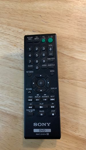 Sony DVD RMT-D187A CONTROLLER for Sale in Fort Lauderdale, FL