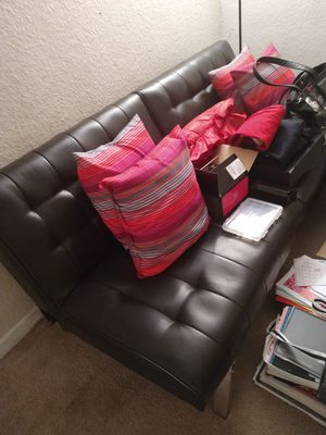 Futon black leather excellent condition lays down as well for Sale in Norfolk, VA