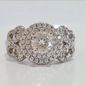 Diamond sterling silver 925 stamped ring size 7 jewelry accessory wedding engagement ring for Sale in Spencerville, MD
