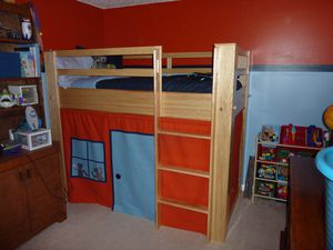 Bunk bed for kids with robot workshop curtains for Sale in Sammamish, WA