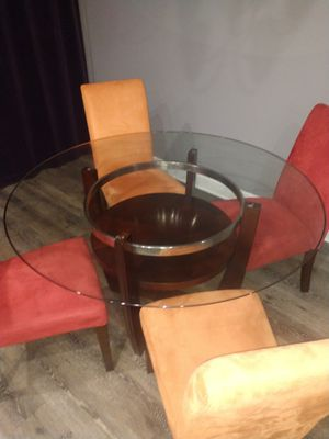 Glass dining room table/4 micro fiber chairs for Sale in Murfreesboro, TN