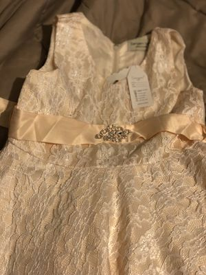 Peach/champagne Lace dress for girls 10/12 for Sale in Houston, TX