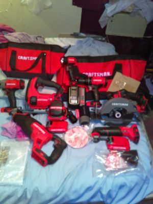 Craftsman v20 volt Max 8 tool set with 2 tool bags 2 batteries and a quick charger for Sale in Hudson, FL