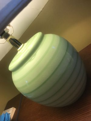 Green Ceramic modern with touch classic Lamp with ivory shade for Sale in Chevy Chase, MD