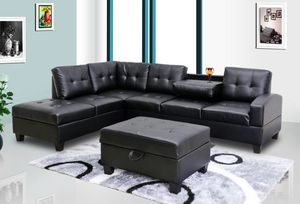 Black Leather Sectional With Storage Ottoman for Sale in Baltimore, MD