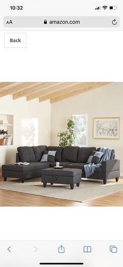 Beverly Fine Furniture Left Facing Linen Russes Sectional Sofa Set With Ottoman, Dark Grey Linen Upholstery Material: Linen 3-Pieces Linen Sectional S for Sale in Westerville,  OH
