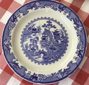 "2 Antique Mason's Blue Willow Ironstone China, England ~ 11 1/4"" Dinner Plates for Sale in Centerport, NY"
