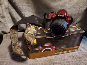 Nikon d3400 w/ lens, sd card and custom strap for Sale in Portland, OR