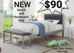 Silver Twin Metal Headboard and Bench for Sale in Ontario, CA