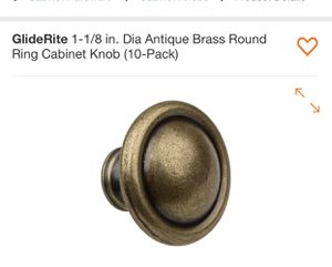 GlideRite 1-1/8 in. Dia Antique Brass Round Ring Cabinet Knob (10-Pack) for Sale in Bakersfield, CA