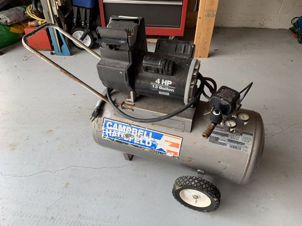 Air Compressor, made in America, Campbell Hausfeld, 4 Horsepower, 13 Gallon, Works Great