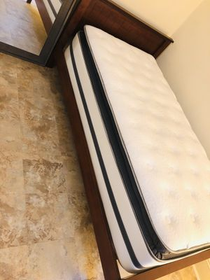 Twin bed (frame and pillowtop mattress) for Sale in Weehawken, NJ