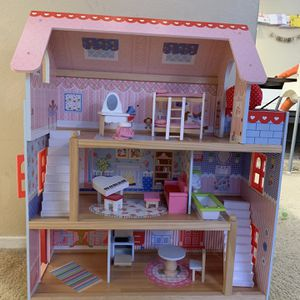 Wood Doll House With Accessories for Sale in Huntington Beach, CA