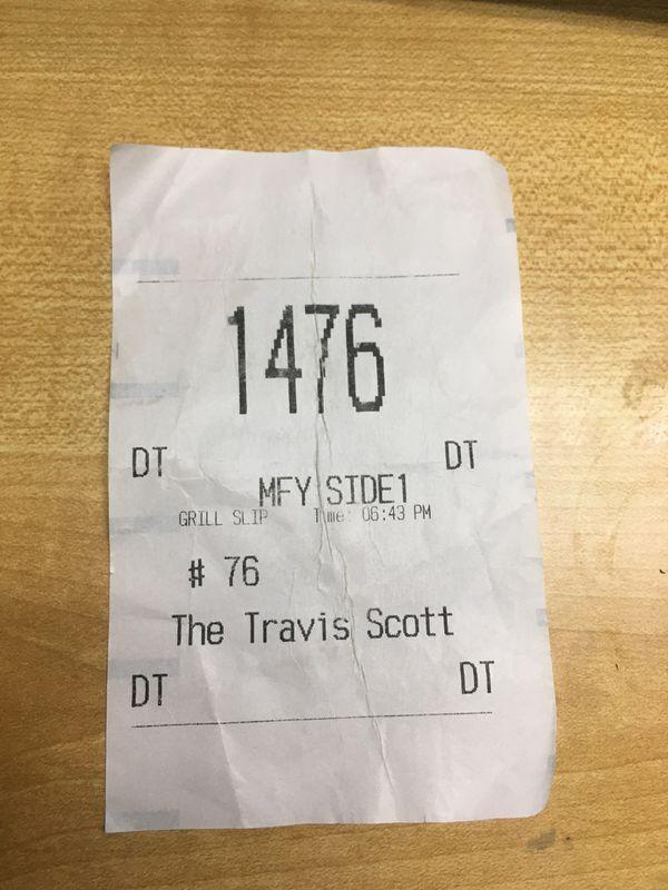 Travis Scott limited time receipts