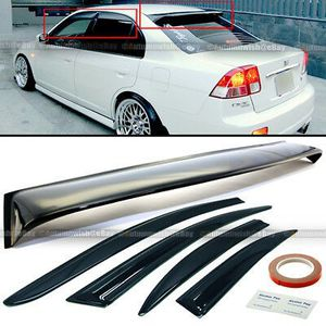 01-05 Civic 4DR Black Tint Mugen Style Wavy Window Visors + Rear Roof Visor for Sale in Pomona, CA