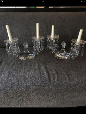 Gorgeous antique candelabra with crystal prism table decor centerpiece estate sale for Sale in Monroe, WA
