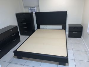 New bedroom set black bed frames and mattress, dresser, chest and 1 night stand FREE DELIVERY Twin size 540, full size 560$, queen 580$ for Sale in Hollywood, FL