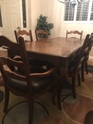 Wood dining table with 6 matching chairs for Sale in Roswell, GA