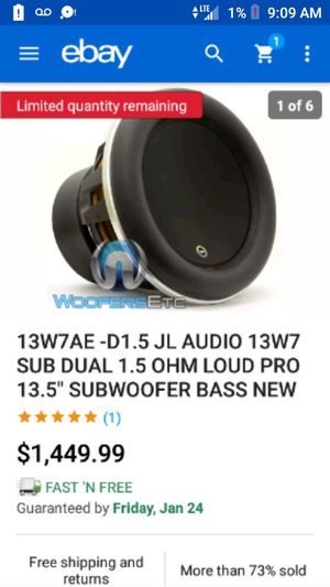 "13W7AE -D1.5 JL AUDIO 13W7 SUB DUAL 1.5 OHM LOUD PRO 13.5"" SUBWOOFER BASS NEW for Sale in Fair Oaks, CA"