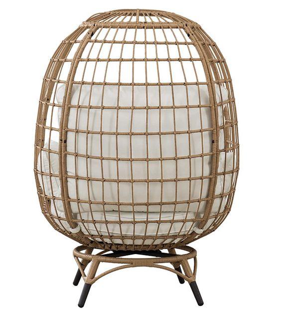 Simon Swivel Egg Cuddle Chair, Light Brown