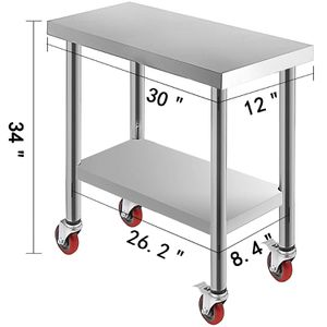 VEVOR 30x12x34 Inch Stainless Steel Work Table 3 Stage Adjustable Shelf with 4 Red Wheels for Sale in Whittier, CA
