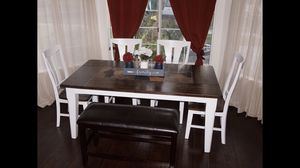 Rustic dining table with slate 4 chairs for Sale in Norco, CA