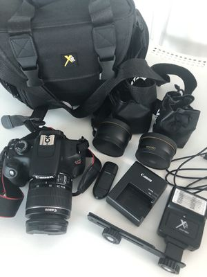 CANON EOS REBEL T5 DSLR bundle (camera, lenses, flash, charger, bag, everything you see) for Sale in Miami, FL