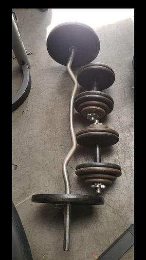 Curl bar, dumbbell bars and weights for Sale in Anaheim, CA