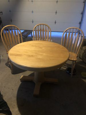 Blonde Oak 'Shin Lee' Table & 3 chairs for Sale in Ione, CA