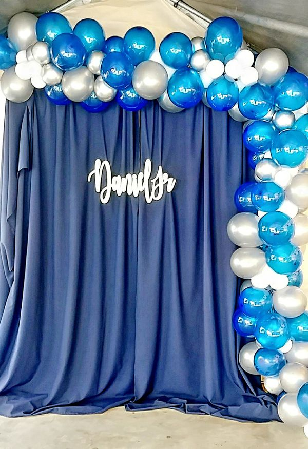Silver blue and white balloons 🎈