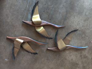 Vintage wooden duck decor with metal wings for Sale in San Diego, CA