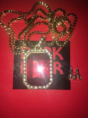 Gold Chain W Ruby Pendant. & Sapphire Earrings $40 OBO for Sale in Poinciana, FL