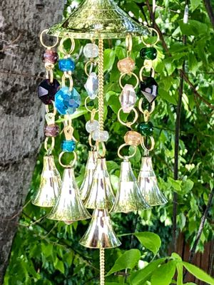 Chakra Multi Colored Translucent Beads & Brass Bells Dome Wind Chime Mobile for Sale in Nashville, TN