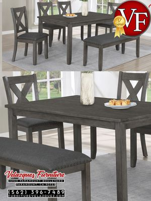 **SAVER** 6PCS DINNING SET 1BENCH+1TABLE+4CHAIRS FAVELLA $358 for Sale in Arcadia, CA