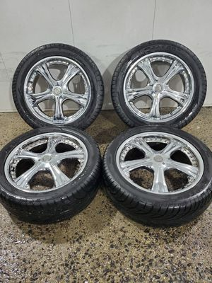 4 18 in 5x100 5x114.3 motegi racing wheels rims and tires for Sale in Germantown, MD