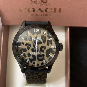 Coach Authentic Calf Skin Watch Black Brown Gold for Sale in Sterling, VA