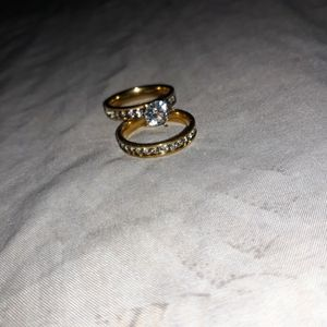 Set 2 Piece 18 K Gold Plated Engagement Wedding Ring, Size 8. for Sale in Dallas, TX
