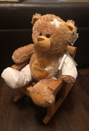 Get well teddy bear and wooden rocking chair for Sale in Katy, TX