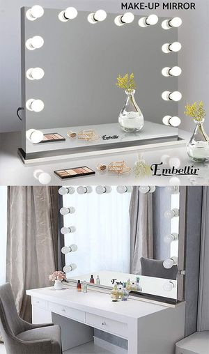 """$300 NEW Vanity Mirror w/ 14 Dimmable LED Light Bulbs, Hollywood Beauty Makeup Power Outlet 32x26"""" for Sale in Pico Rivera, CA"""