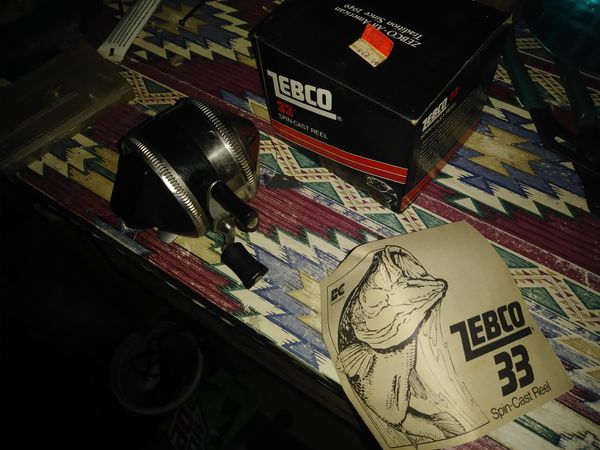1976 Zebco33 in box&1800s fishing scale