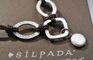 Silpada leather and hammered silver necklace with pearl for Sale in GRANDVIEW, OH