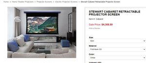stewart 8 foot retractable projector screen (stock photo for reference) for Sale in Tempe, AZ