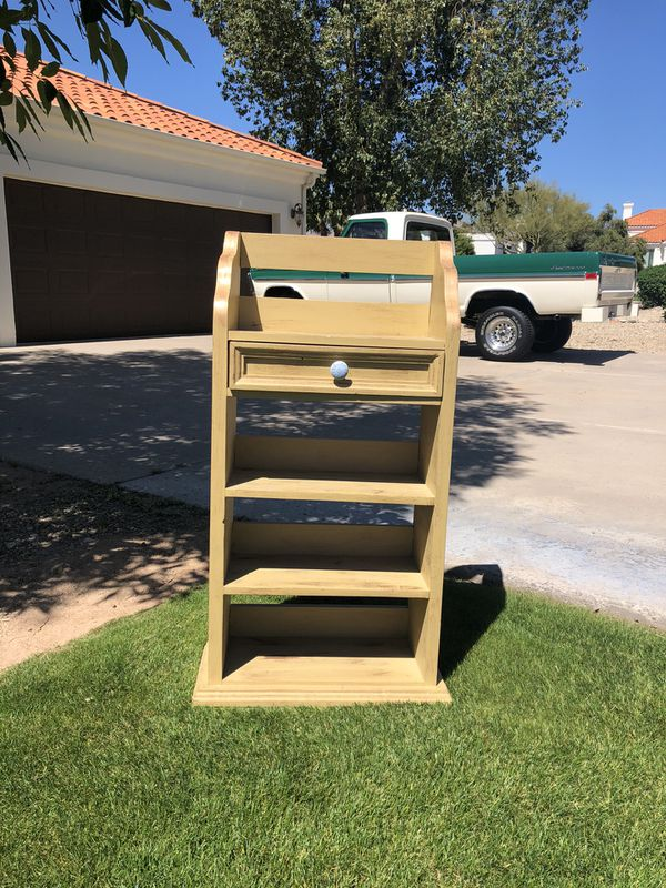 Cute little book shelf with one drawer ... 41 tall x. 20.5 wide. x 10 inches deep