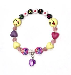 💝 One of a Kind Handcrafted Name Saying Personalized Girls Stretchy Anklet Bracelet Smily Face Heart Charm 💝 for Sale in Henderson, NV