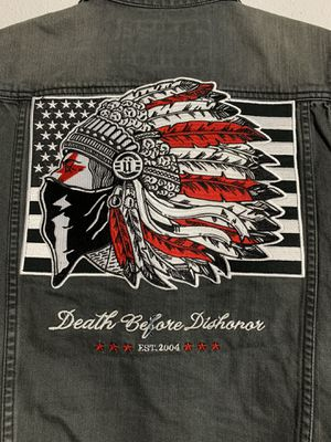 Unkut Indian Patch Black Denim Vest Death Before Dishonor Black Denim Motorcycle Vest w/ Giant Patch for Sale in Lutz, FL