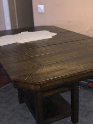 Not free! Dining table set, included chairs! Built in extension. Real wood for Sale in Ontario, CA