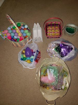 Easter stuff (baskets, eggs, grass, treat bags) for Sale in Bothell, WA